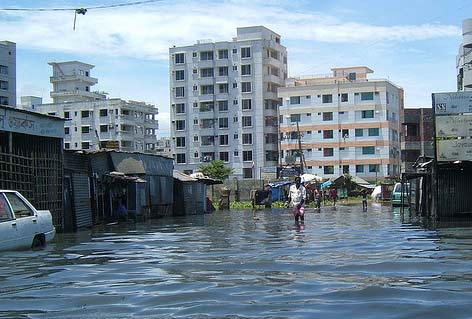 flooded street in Bangladesh