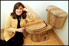 Woman with leopard print toilet