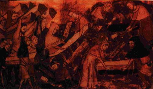 This 14th Century woodcut depicts the sorrow of medieval people as they begin burying their dead.