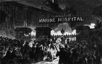 Riots frequently broke out as friends and relatives rallied against the forced isolation of new arrivals by ship or steamboat.