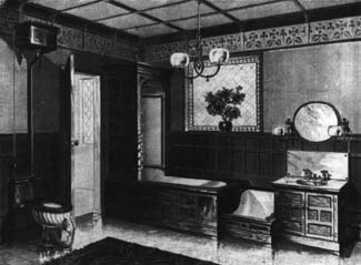 A luxury bathroom of the 1890s would feature wood-encased fixtures in Victorian splendor.